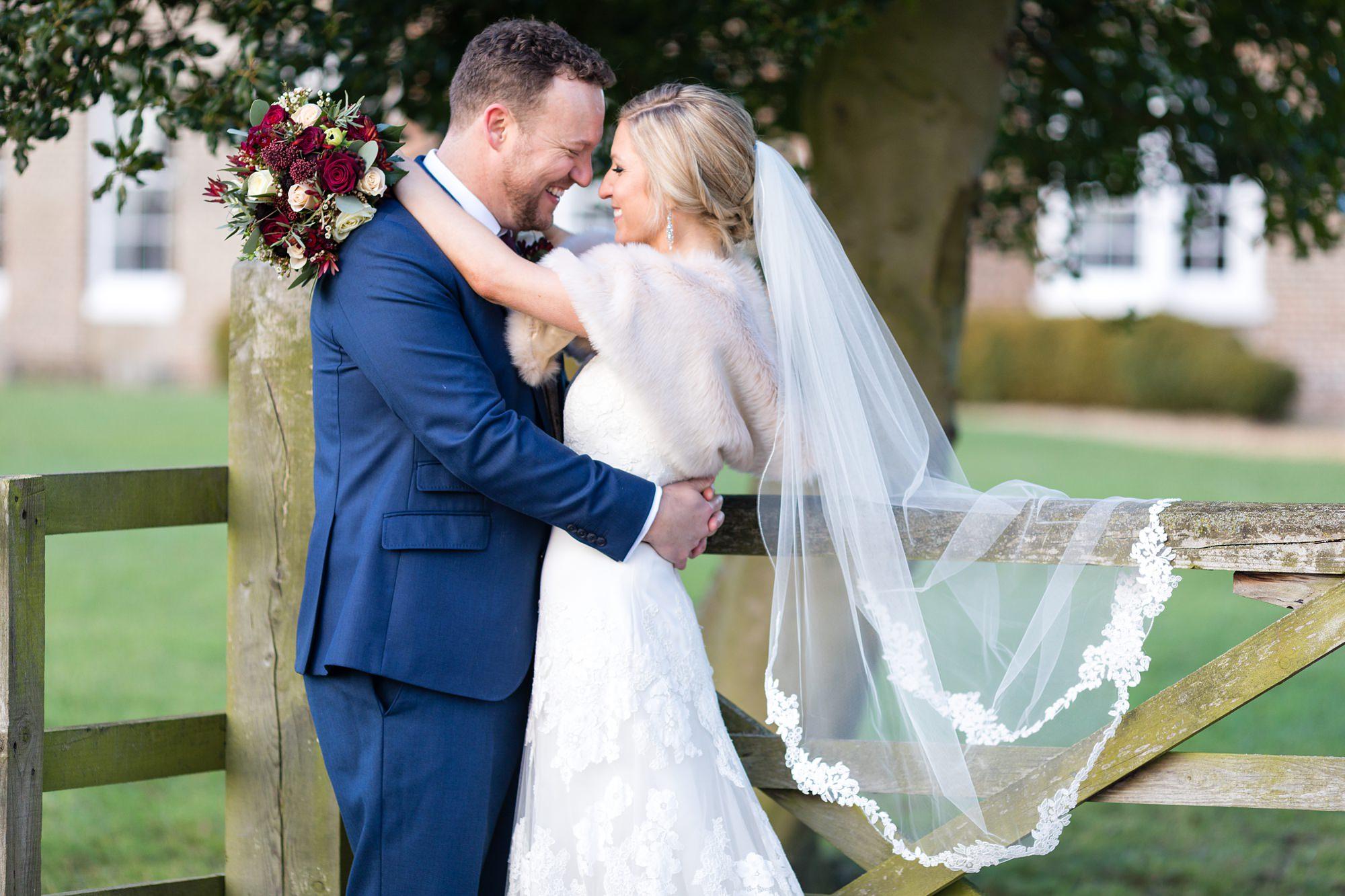 York Wedding Photography at Hornington Manor Farm bride and groom portraits by back gate