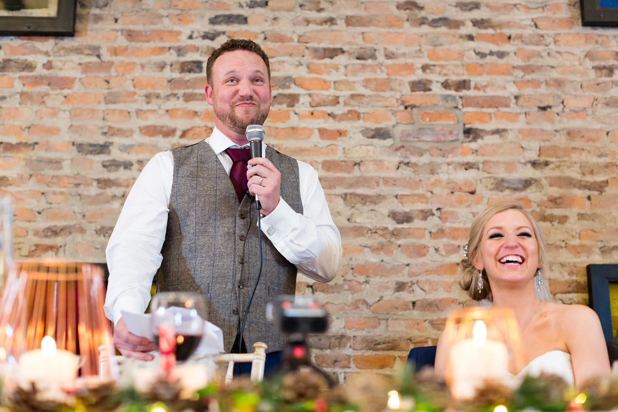 Groom gets choked up during speeches at York Wedding