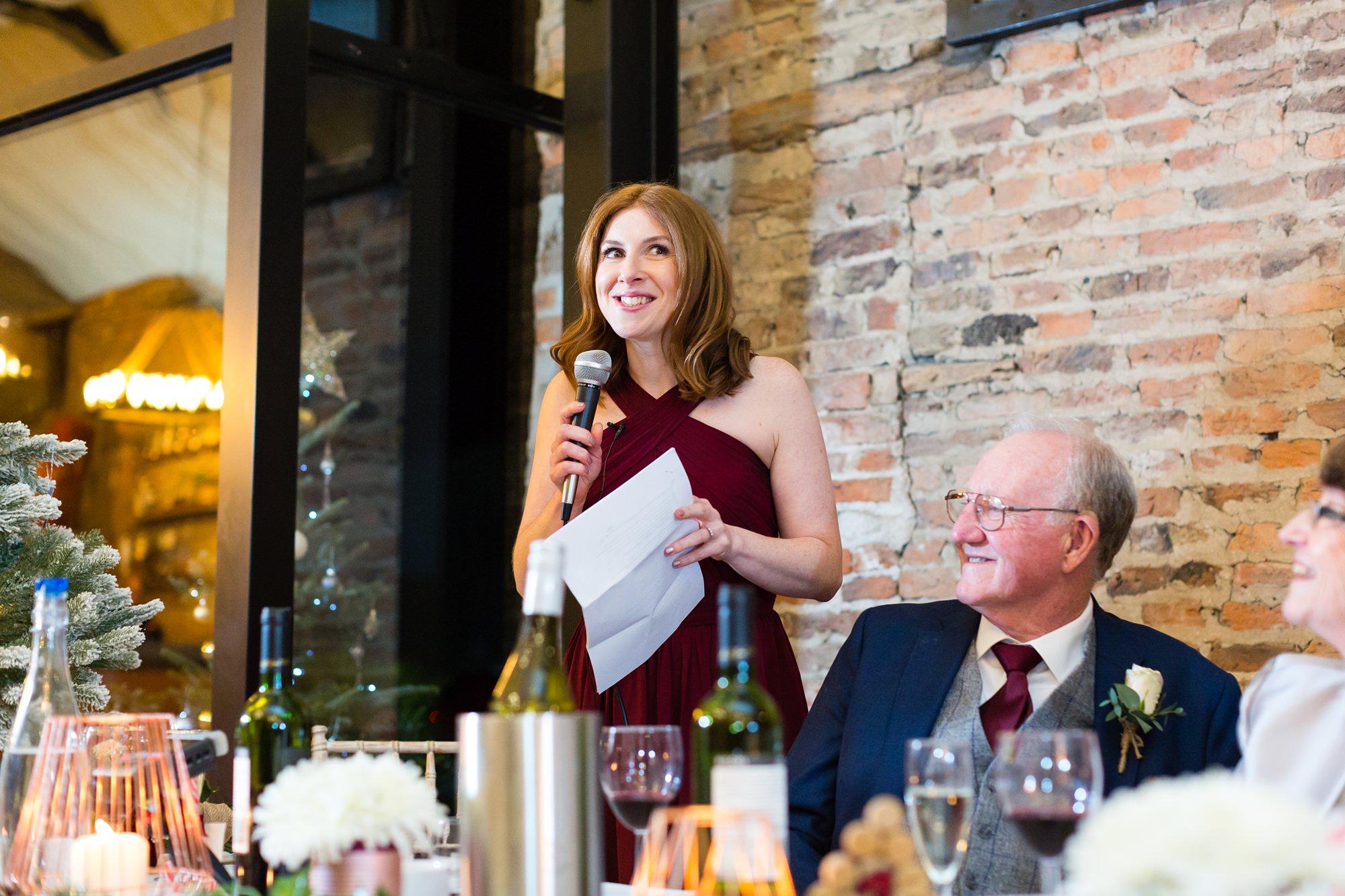 Bridesmaid gives Speech at Hornington Manor Farm wedding