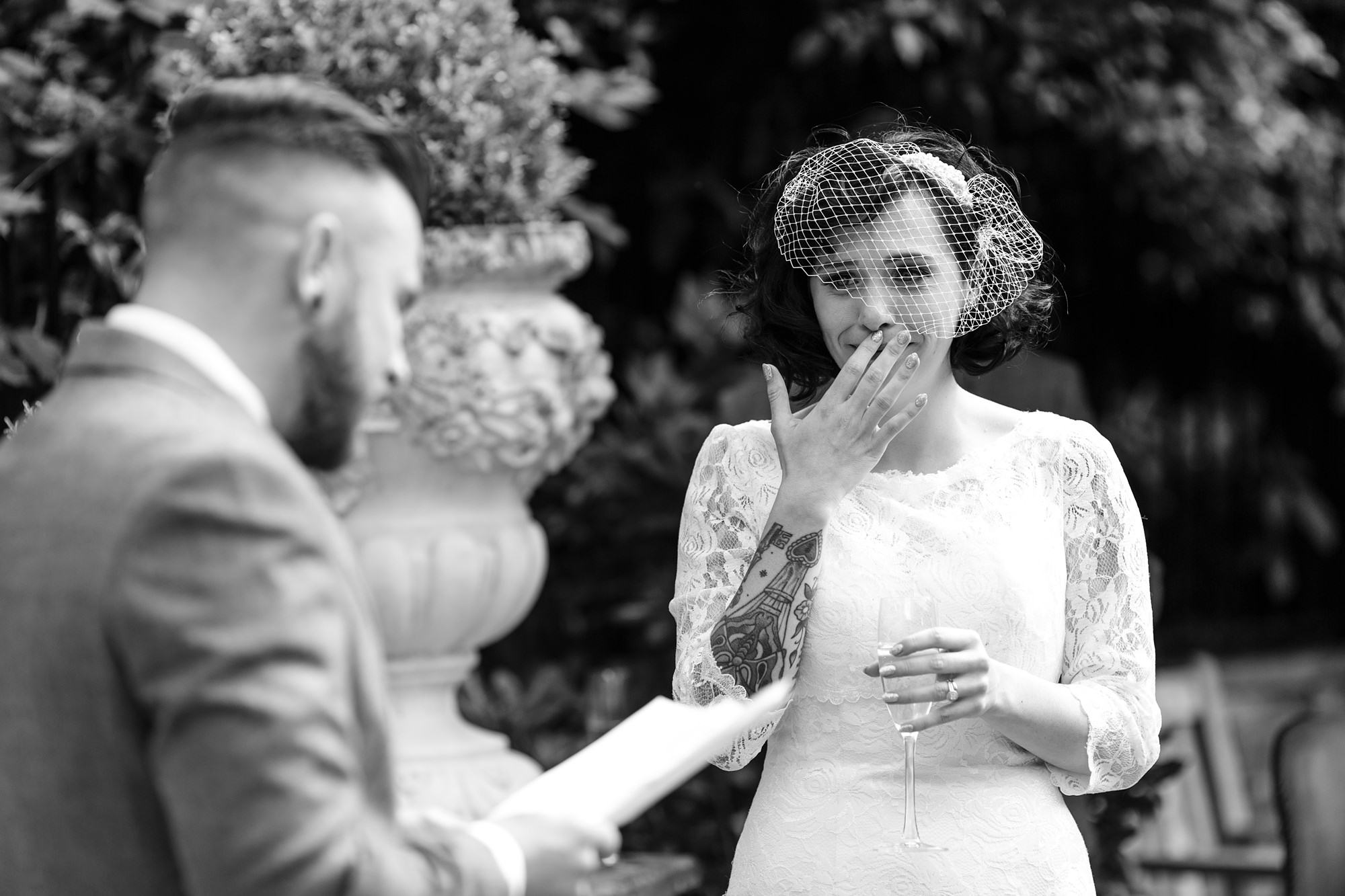 Bride chokes up during groom speech