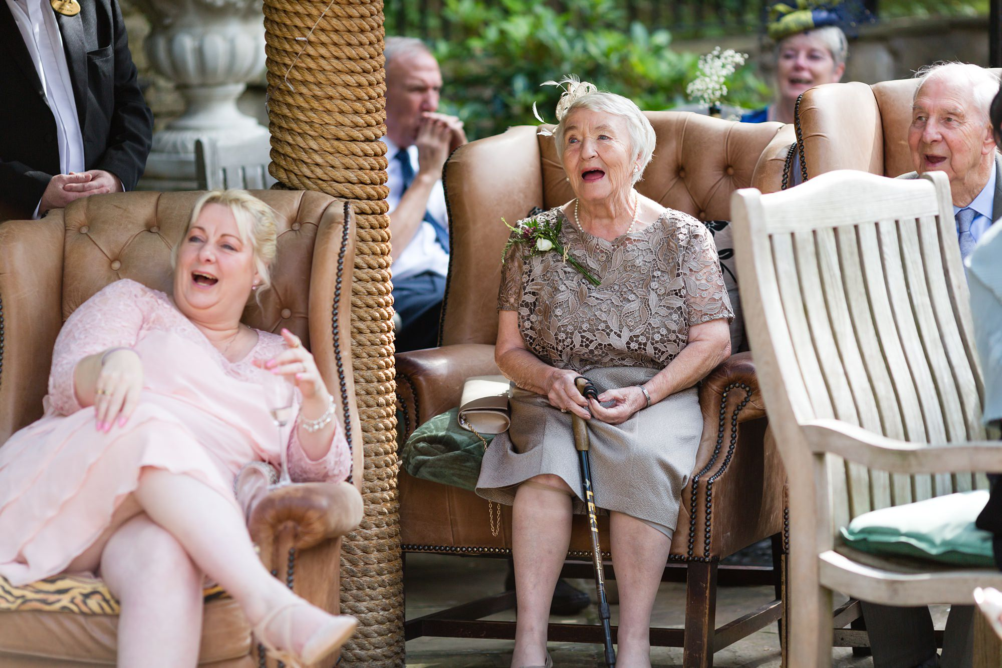 Bride's grandmother laughs during the speeches