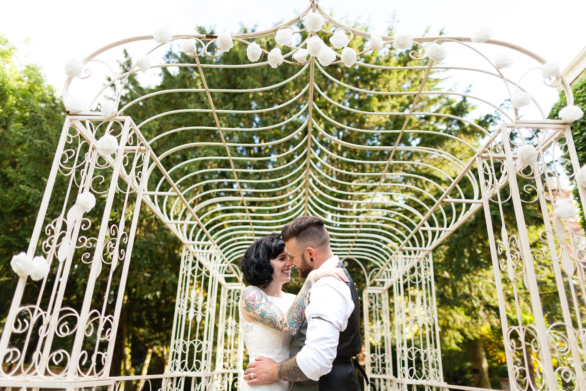 Yorkshire Wedding Photography at Crab and Lobster tattooed couple under arch