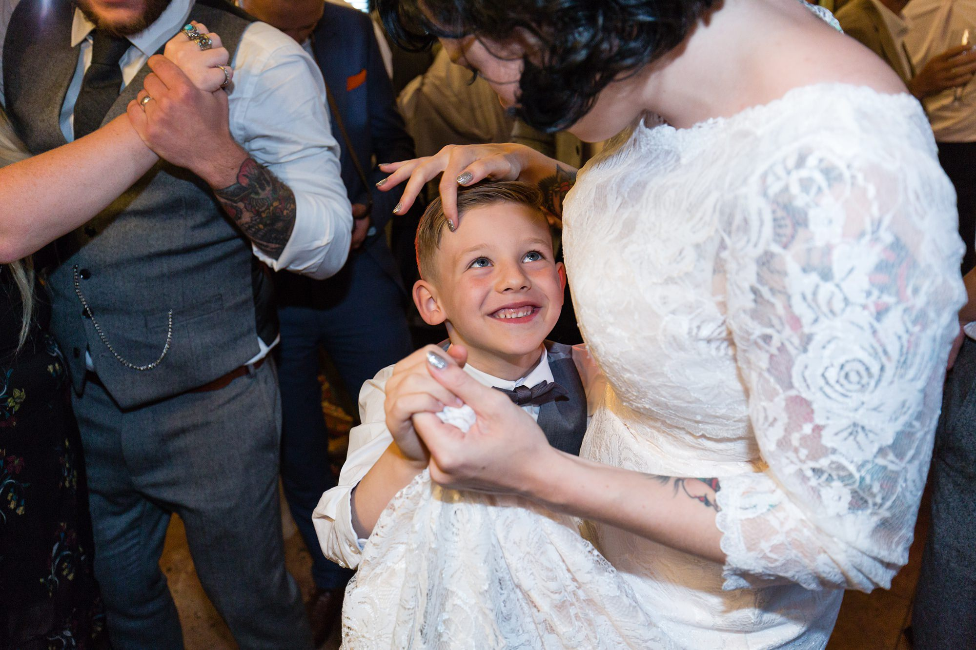 Bride dances with stepson at wedding in Yorkshire