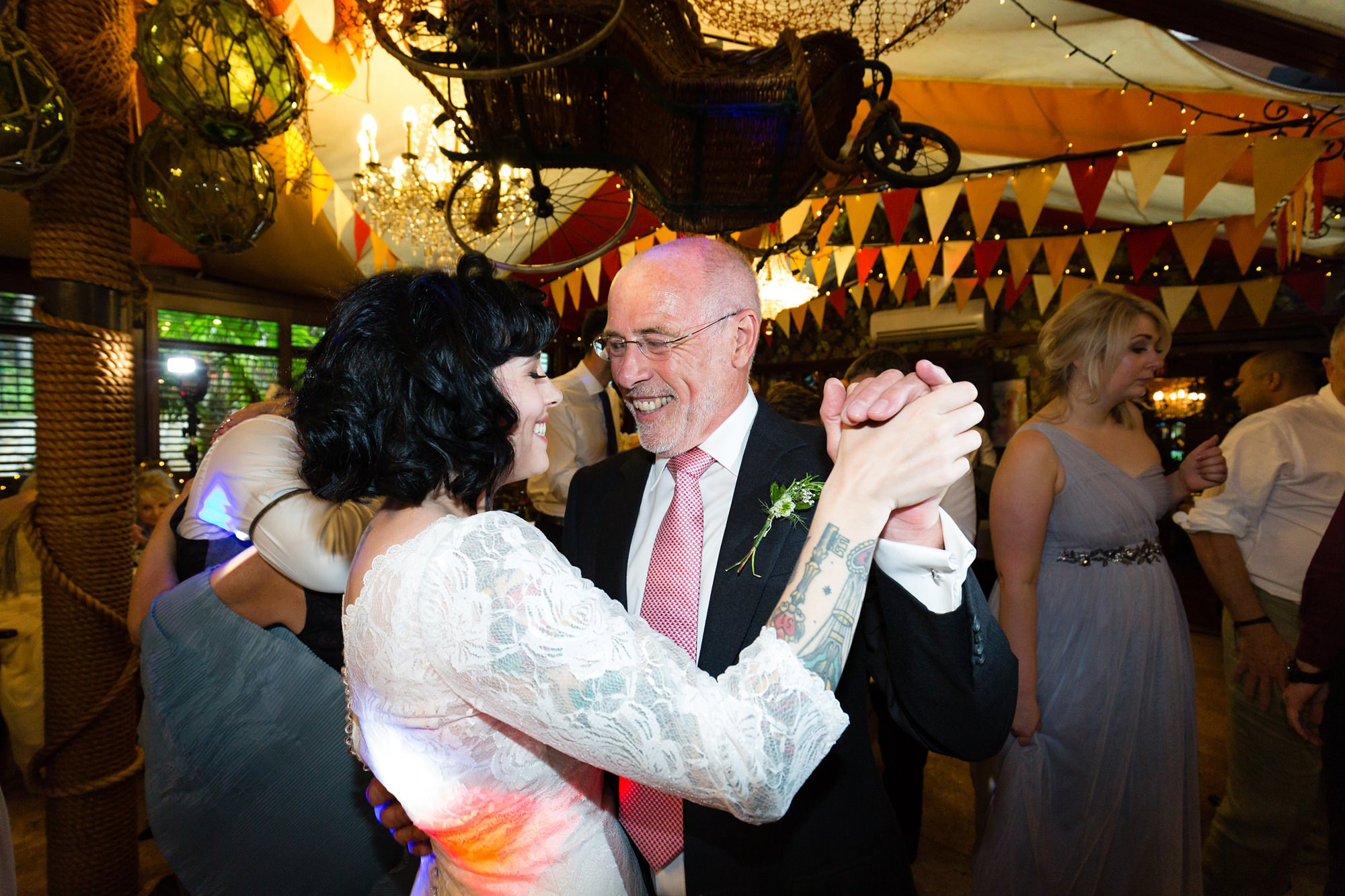 Yorkshire Wedding Photography at Crab and Lobster bride dances with father
