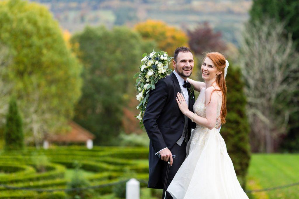 Wedding Photography at Achnagairn Estate couples portrait over autumn estate
