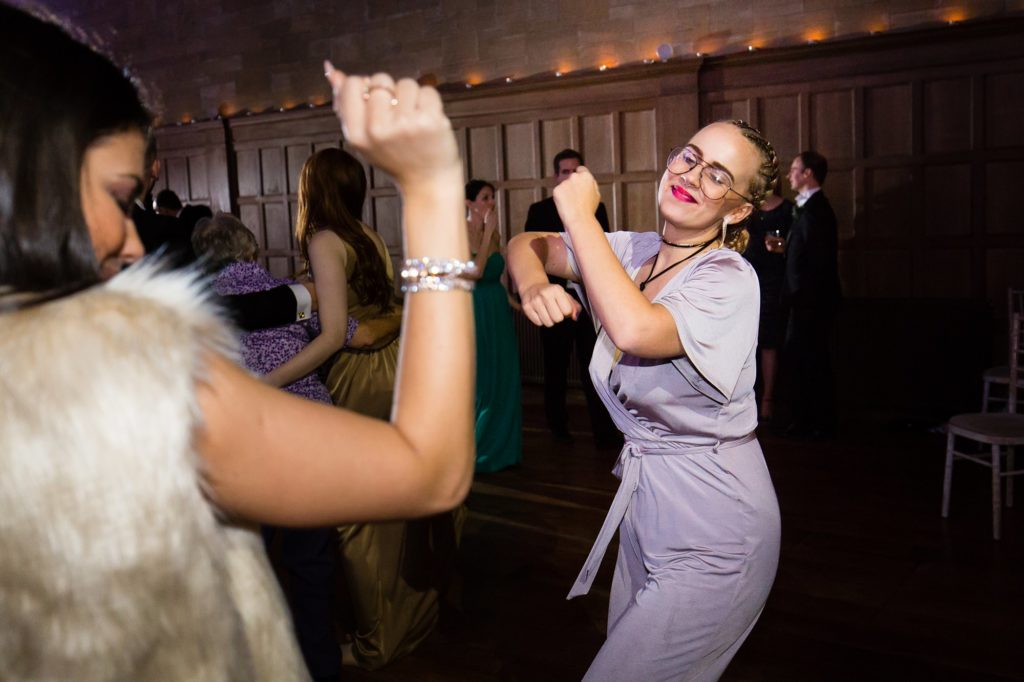 Guests disco dancing at wedding.