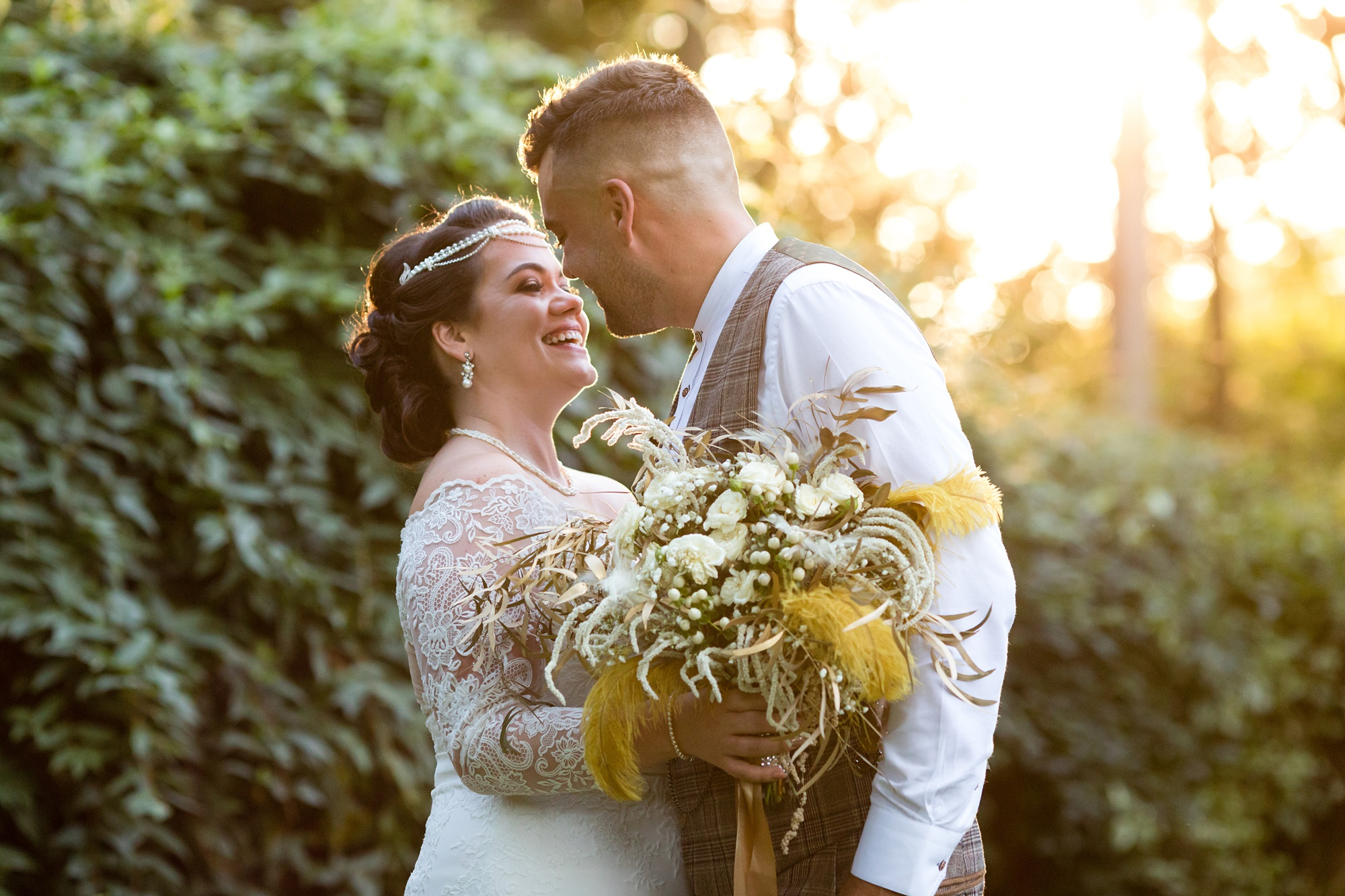 Golden Hour couples portraits at Sandburn Hall wedding.