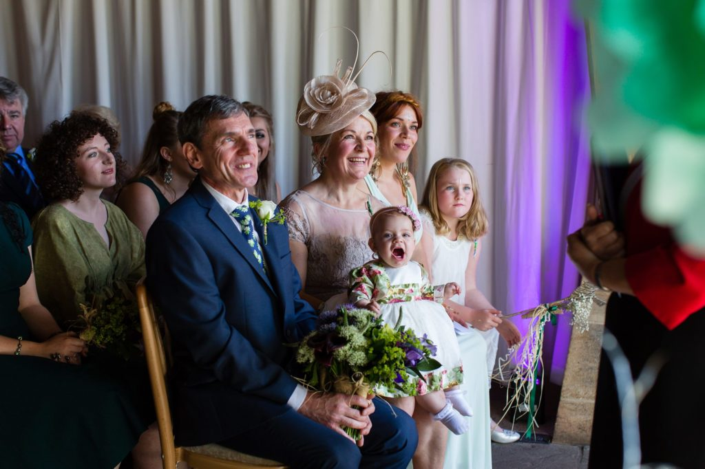 Baby makes noise during wedding ceremony at East Riddlesden Hall