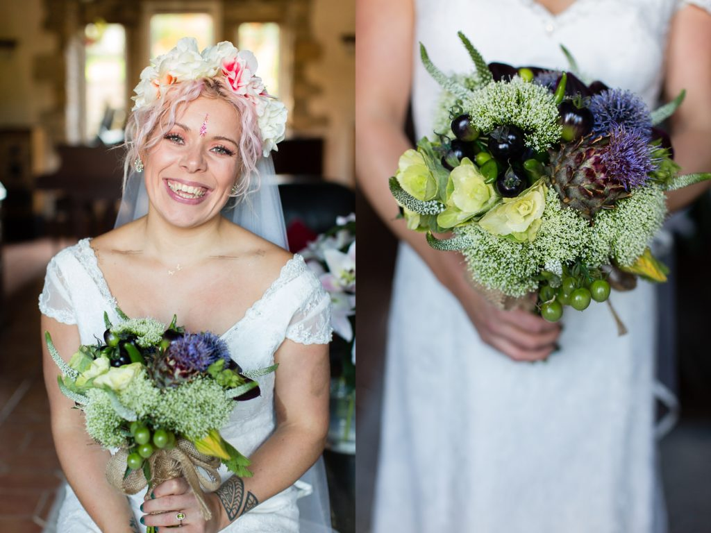 Beautiful alternative bride wearing bindi holds a bouquet that mixes flowers and vegetables.